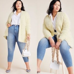 Anthropologie Larkin Shimmer Cardigan Yellow 3X